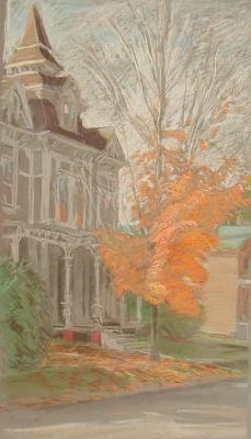 1984 Orange Out Front_21x12 in pastel_254