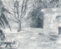 1986 Snow Yard_20-5x26-5_oil on paper_433